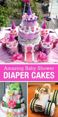 Amazing Baby Shower Diaper Cakes! DIY Party Ideas and how to make a diaper cake for a baby boy, baby girl or neutral shower. Homemade gifts and crafts.