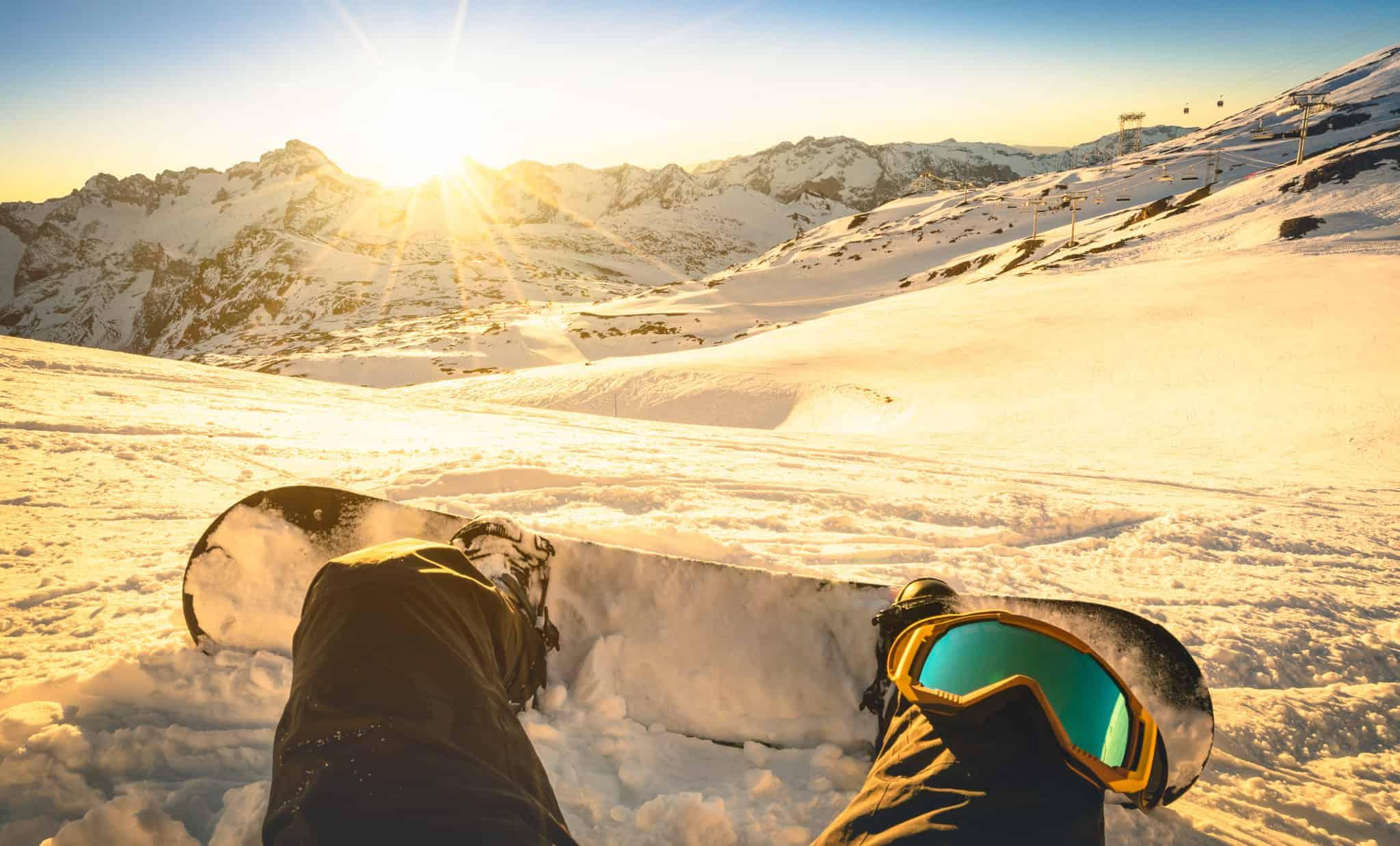 Snowboarder in den Alpen
