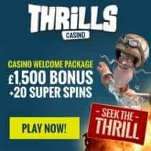 Thrills Casino   20 free spins NDB and €1500 bonus   Free play!