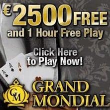 Grand Mondial Casino - €2500 free play & free spins - no deposit bonus