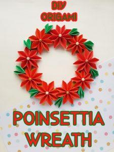 origami poinsettia wreath