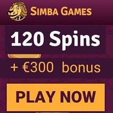 Simba Games Casino - 130 free spins and €300 welcome bonus