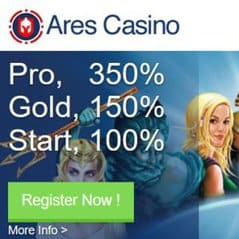 Ares Casino   350% up to €1750 bonus and free spins   review