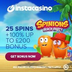 InstaCasino 25 Real Spins (no deposit bonus) + 100% welcome bonus