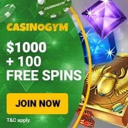 Casino Gym [register & login] 100 free spins + $1000 welcome bonus