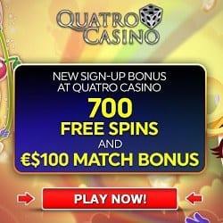 Play 700 free spins on Microgaming slots at Quatro Casino!