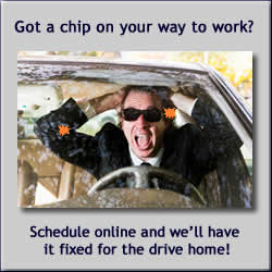 Windshield chips in drivers view