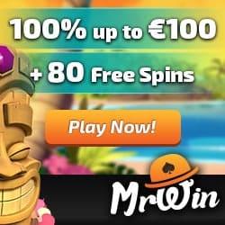 Mr Win Casino €100 gratis & 80 free spins - no deposit bonus