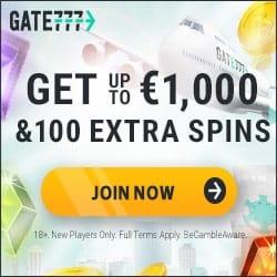 Gate777.com 100 gratis spins + €1,000 bonus money