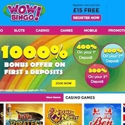 Wow Bingo Casino £15 free spins NDB + £3000 FREE in bonus money