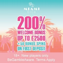 Miami Dice Casino 325% up to £3,500 free bonus and 200 extra spins