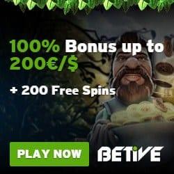 Betive Online Casino Review: 200 free spins + €1,000 bonus money