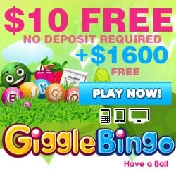 Giggle Bingo Casino €10 free spins (NDB) and €1,600 welcome bonus