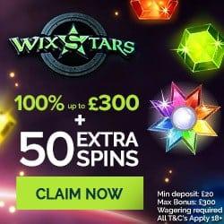 Wixstars Casino 50 exclusive free spins bonus on registration