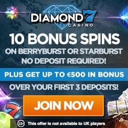 Diamond 7 Casino 10 free spins no deposit bonus + 200% bonus + 50 FS