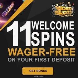 Videoslots 11 free spins (on deposit) & 100% up to €200 bonus