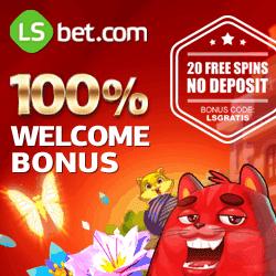 LSbet Casino 20 freispiele (bonus code: LSGRATIS) + 300€ gratis geld