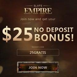 Slots Empire Casino [register & login] $25 FREE bonus code