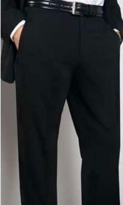 Mens Black Slim Fit Dress Pants Fly Front No Pleats