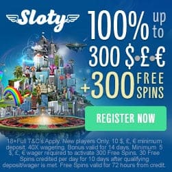 Sloty Casino   300 free spins and €/$/£ 1500 welcome bonus   Review