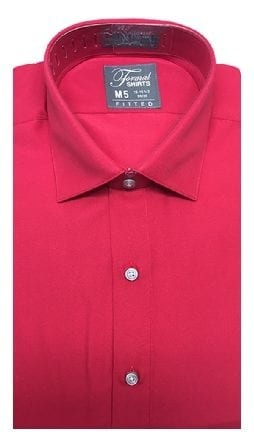 Red Fitted Microfiber Dress Shirt Laydown Collar
