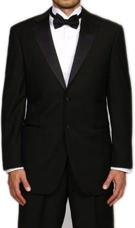 Slim Fit Tuxedo Two Button Notch Lapel Black   Prom Wedding