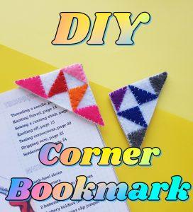 DIY corner bookmark pin image.