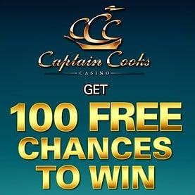 Captain Cooks Casino 100 free spins on Mega Moolah - exclusive bonus