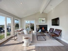 transitional living room with grey wall and engineered French oak floor
