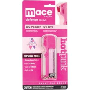 Mace Hot Pink personal model key chain 10% Pepper Spray package front view