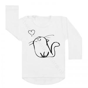 Longsleeve wit kat