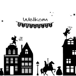Raamsticker Sinterklaas straatje