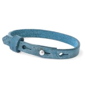 leren SOS armband all over blue
