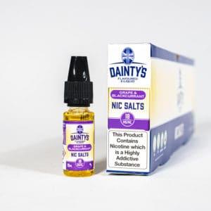 Eco Vape Dainty's Grape & Blackcurrant Nic Salt 10ml Purple White Background