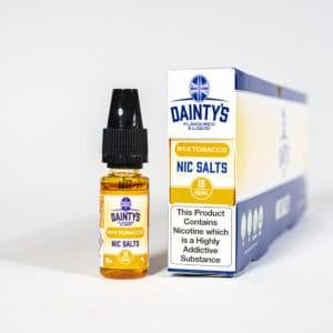 Eco Vape Dainty's RY4 Tobacco Nic Salt 10ml Orange White Background