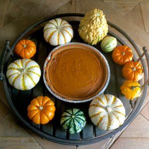decorative pumpkins on table