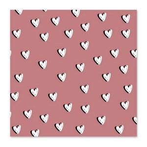Minikaart hartjes roze