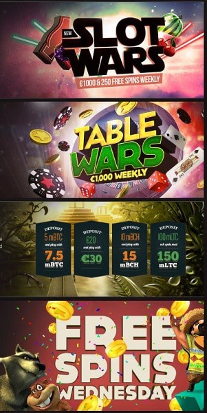 Slot Wars, Table Wars, Free Spins Wednesday, Monday Reloads