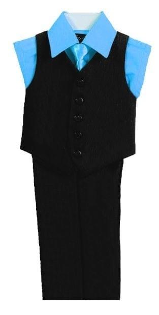 Boys Turquoise Shirt Black Vest 4 Piece Set
