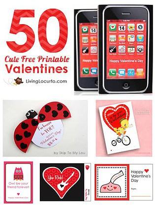 Over 50 Free Printables for Valentines Day! LivingLocurto.com #valentine
