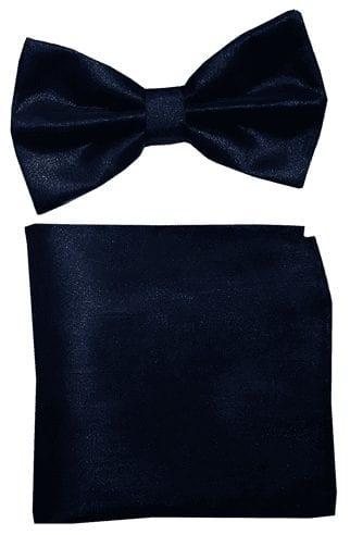 Metallic Lame Black Bowtie with Matching Pocket Square Set