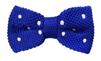 Knit Bow Tie Blue With Polka Dots