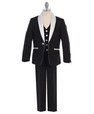 Boys BLACK Suit Color Vest Necktie Baby Toddler Youth Teen Suit