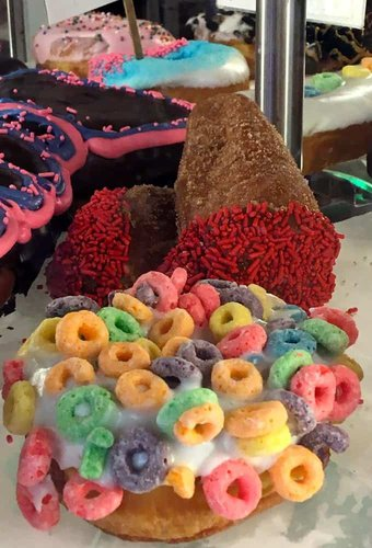 The bright colors of voo doo donuts