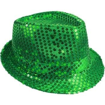 Emerald Green Sequin Fedora Hat- Holiday-St. Patricks