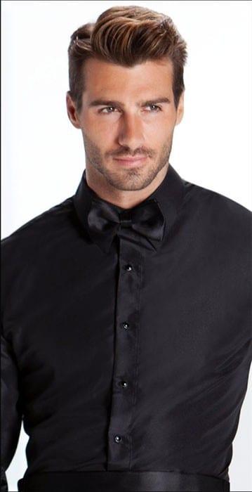 Slim fit Laydown Collar Microfiber Non Pleated Tuxedo Shirt