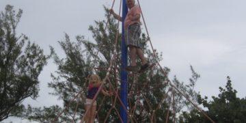 Climbing at warwick long bay play ground