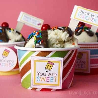 Ice Cream Sundae Cupcakes – Teacher Appreciation {Free Printables}