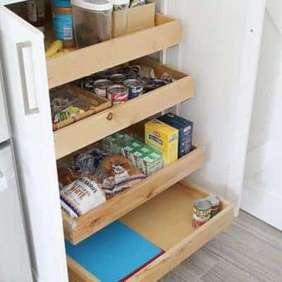 Kitchen Cabinet Organization and Storage Ideas - Food Pantry Pull Out Drawers