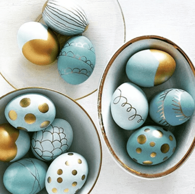 Blue and Gold Easter Eggs